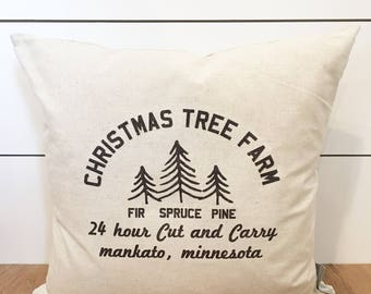 Personalized Christmas Farm Tree Pillow Cover, 18 x 18 Pillow Cover, Christmas Tree Decor, Christmas Pillow, Gift