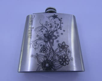 Laser Engraved 170 ml (6oz) Stainless Steel Hip Flask - Flower Power
