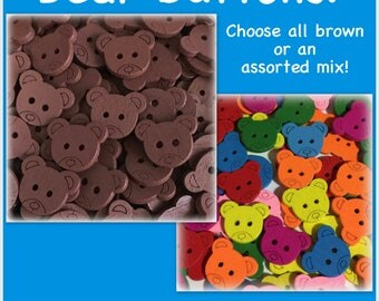 "15 or 30 Bear buttons, teddy bear buttons, scrapbooking, sewing, crafts wood bear buttons 18 mm 3/4"" brown yellow red green blue orange pink"