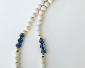 Chinoiserie Beaded Necklace | blue and white, floral, chunky, navy, gold, long, statement necklace, Designs by Laurel Leigh