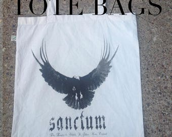 Sanctum Tote Bag - James Fahy - Phoebe Harkness - book tote - Hells Teeth - cotton tote - printed tote - casual bag - nameless city apparel