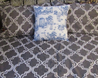 Doctor Who Inspired Toile de Jouy 18x18 inch Geeky Pillow Cover - Pillow NOT Included