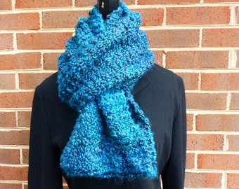 Handmade knit XL infinity chunky scarf in deep blue, emerald, and chocolate brown.  Free domestic USPS priority shipping!!