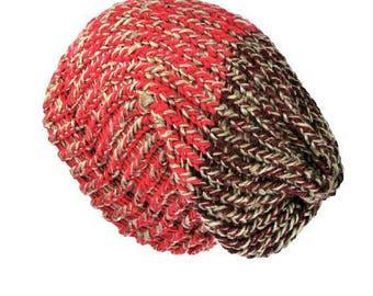 Slouchy knit hat pink beanie hat dreadlock hat knit beanie hat slouchy beanie woman knit hat woman winter beanie hat dreadlock tam