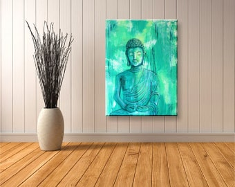 Original Zen Acrylic Painting | Green Buddha 60x80 cm