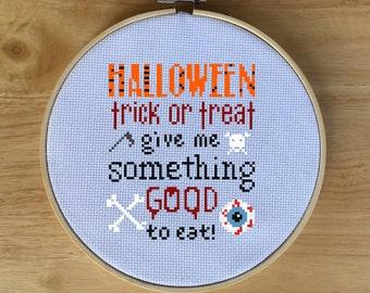 Halloween Sampler Cross Stitch PDF, Cross-Stitch Chart Pattern Design - Spooky, Creepy, Trick or Treat, Eyeballs, Skulls, Bones, Quote