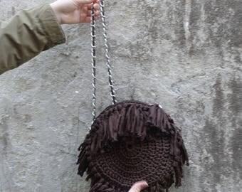 handmade crochet purse, One of a kind crochet clutch, black crochet handmade handbag, crochet wristlet, crochet handba