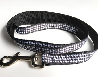 Black & White Houndstooth Leash - Medium