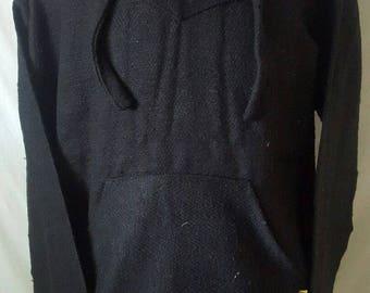 BLACK Baja Pullover Hoodie Shirt Mexican Surfer Poncho Size LARGE Handmade Hoodie