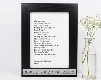 Framed Personalised Song Lyrics of Your Choice Print | Any Song Lyrics | Your Own Song Lyrics | Song Lyric Print | First Dance Wedding Gift