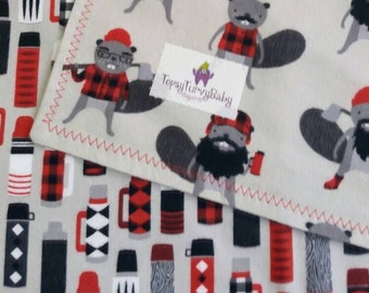 Beavers - Flannel -  Baby Blanket - Handmade - Designer Baby - Baby Boy - Toddler Blanket - Lumberjack - Swaddler - Woodland Animals, Grey