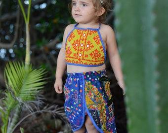 2-4 Years Tulip Skirted Banjara Set, bohemian baby skirt, baby bloomers, baby romper, hippie baby, boho baby shower, baby crop