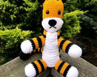 Black & Gold Striped Stuffed Tiger Amigurumi Plush