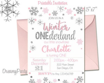 Winter Onederland Invitation, Pink and Silver first birthday invitation, Winter onederland Birthday, Digital File.