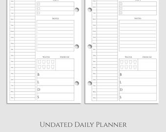 "Undated Daily Planner Inserts ~ DO1P ~ Time Blocking, Health Tracker, Top 3 To-Do ~ Half Letter / 5.5"" x 8.5"" / Mini 3-Ring (3RM-DV1-U)"