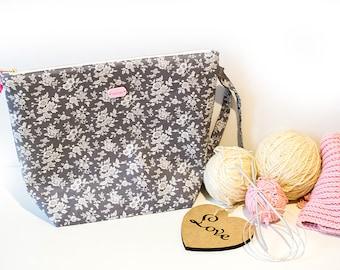 Sock project bag Knitting bag Zippered knitting bag Crochet project bag Yarn bag Gift for knitter Project bag Needlework bag Storage bag