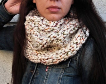 knit cowl scarf hand knit scarf knit neck warmer chunky knit scarf chunky knit cowl loop scarf tube scarf infinity scarf wool scarf