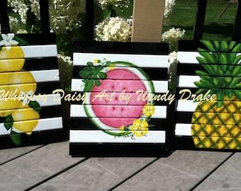 Fruit kitchen wall art, fruit kitchen stripe decor, lemon wall art, pineapple kitchen wall art, watermelon art, sunroom wall decor