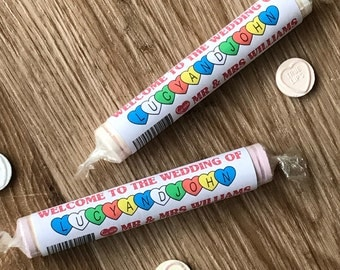 Personalised Love Heart style sweet wrappers | Perfect for wedding breakfast favours or wedding table decoration