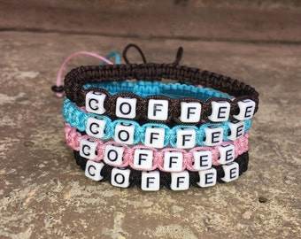 COFFEE Bracelet - Adjustable Letter Bracelet - Coffee Lovers - Caffeine - Coffee Beans - Cappuccino - 4 Colors -  GREAT GIFT