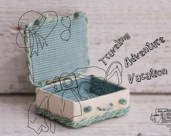Miniature Suitcase   Wicker Dollhouse Bag   Handbag For Doll   Milky White and Turquoise Valise   For Tiny BJD   Scale 1/12