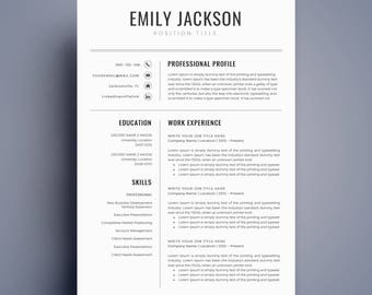 Modern Resume Template / CV Template For Word, Cover Letter, Two Page Resume ,