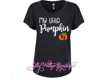 My little pumpkin shirt, Pregnancy Announcement Shirt, Pregnancy Shirt, Maternity shirt, Halloween Costume, Halloween shirt, Dolman shirt