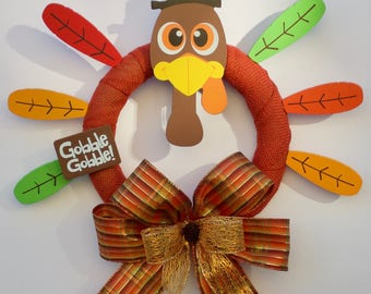 Thanksgiving Wreath, Thanksgiving Turkey Wreath, Fall Wreath, Harvest Wreath, Autumn Wreath, Gobble Gobble Wreath, Turkey Welcome Wreath