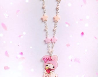 Cute My Melody Macaroon Necklace with Pearl and Star Details, Sweet Lolita, Fairy Kei, Pastel Kei, Harajuku etc inspired