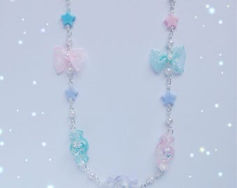 Kawaii Candy Necklace with Pearl, Star and Bow Details, Fairy Kei, Sweet Lolita, Pastel Kei, Harajuku etc inspired