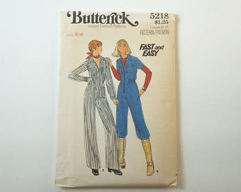 Vintage Butterick 5218 Young Junior/Teen Jumpsuit Paper Sewing Pattern Size 5/6