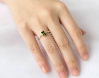 0.60CT Emerald Cut Tourmaline Ring, Gemstone Ring, 14k Solid Gold Gemstone Ring, Green Stone Ring, Green Solitaire Ring, Stacking Gold Ring