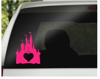 vinyl decal - castle with heart