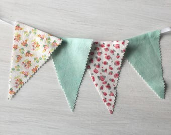 Bunting Banner Nursery, Kid's Room Decor, Fabric Bunting, Fabric Garland, Pink and Green Floral Fabric