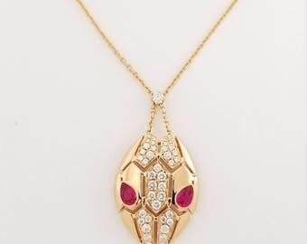 18K Rose Gold Diamond & Ruby Necklace