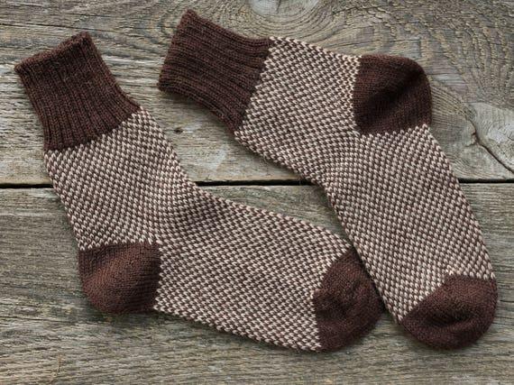 Fair isle socks knit brown socks womens knit socks mens wool