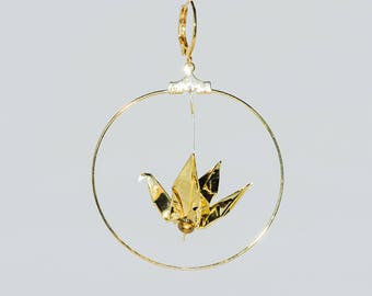 Origami cranes Golden sleepers gold hoop earrings