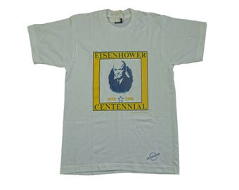 Deadstock 1990 Dwight D Eisenhower USA President Centennial Tee - Vintage USA General Ike Eisenhower WW2 Tshirt - M