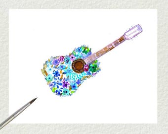 GUITAR ACOUSTIC floral romantic-watercolor painting- music wall art -FLORAL wall art-handmade painting- flowers- Home decor-digital download