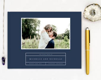 Wedding Guest Book landscape horizontal Guest Books Custom Guestbook Modern Wedding Script Wedding - Photo Navy