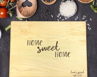 New Home Gift, Personalized Cutting Board, Gift for Couple, Gift for Her, Gift for Him, Home Sweet Home Gift, Last Name Gift, B-0026 Rec