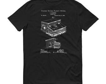 1888 Chicken Coop Patent T Shirt - Patent Shirt, Raising Chickens, Pet Chicken, Hen House Patent, Chicken Coop T-Shirt Decor, Chicken Shirt