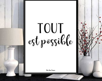 Illustration print, Poster quote, French quote, Inspirational quote, Wall art decor, Typography quote, Positive quote wall, Printable wall