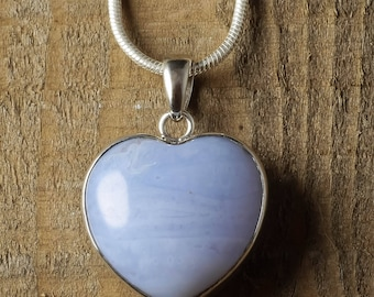 3cm CHALCEDONY Heart Pendant - Sterling Silver Pendant Chalcedony Pendant, Blue Chalcedony Necklace, Chalcedony Jewelry Heart Necklace J1111