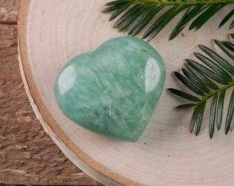 One Small AMAZONITE Stone Heart - Shaped Stone, Healing Stone, Heart Rock Chakra Crystal, Heart Stone, Lapis Lazuli Pendant E0657