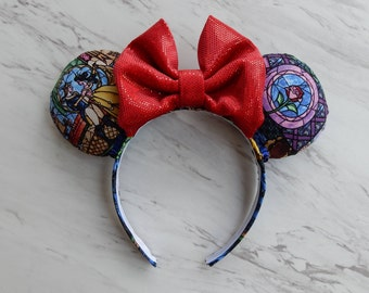 Beauty and the Beast Stained Glass Minnie Ears