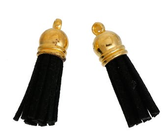 5 Golden tassels and Black Suede of 3.7 cm