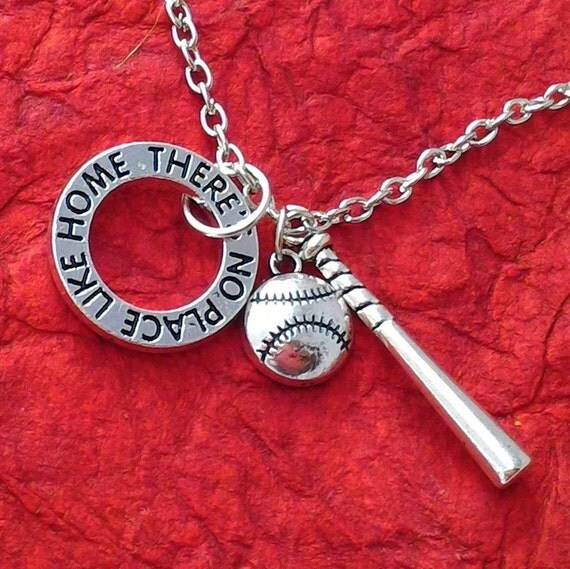 Softball Charm Necklace, There's No Place Like Home Jewelry, Softball Team Gifts, Sports Baseball Jewelry, Gifts for Softball Team Coach