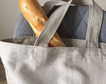 Natural linen tote bag - Large gray fabric bag - Linen shopping bag - Big market bag - Zero waste - Minimalist style tote bag -  Beach bag
