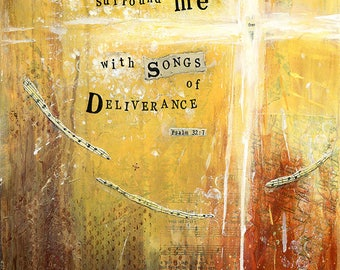A3 Fine Art Print of 'You surround me with Songs of Deliverance' - from an original Mixed Media painting by Karen Lindsay